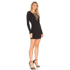 Privacy Please Glendale Lace Up Dress Black XS NWT